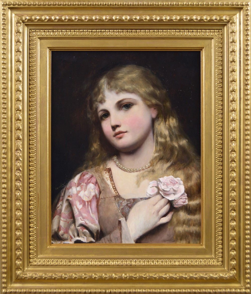 portrait oil painting of a young woman with pearls a rose by alfred seifert