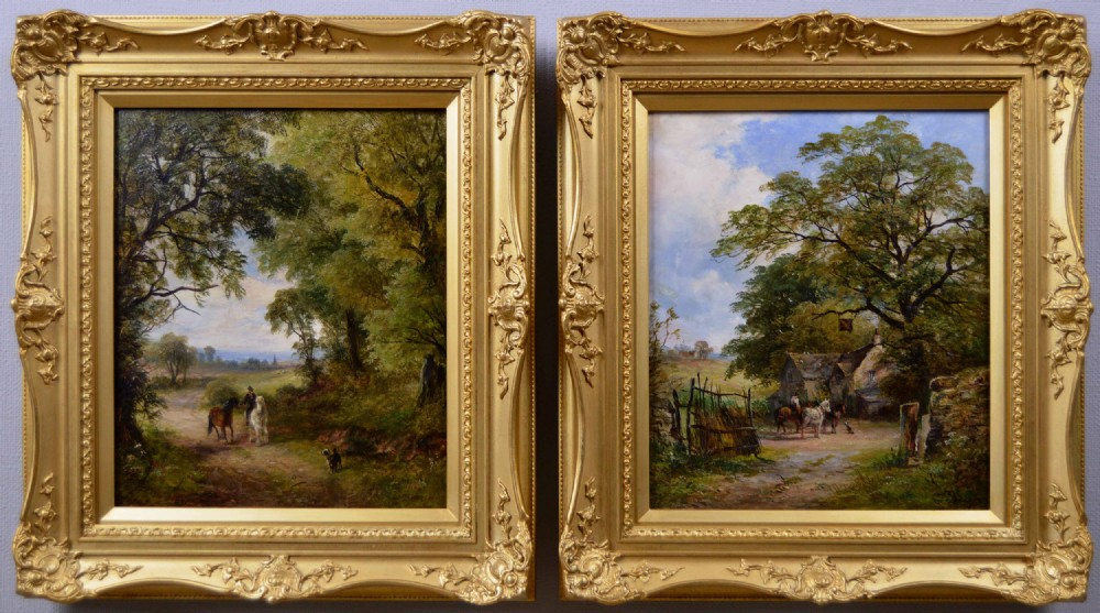 pair of landscape oil paintings of a country lane and an inn by david payne