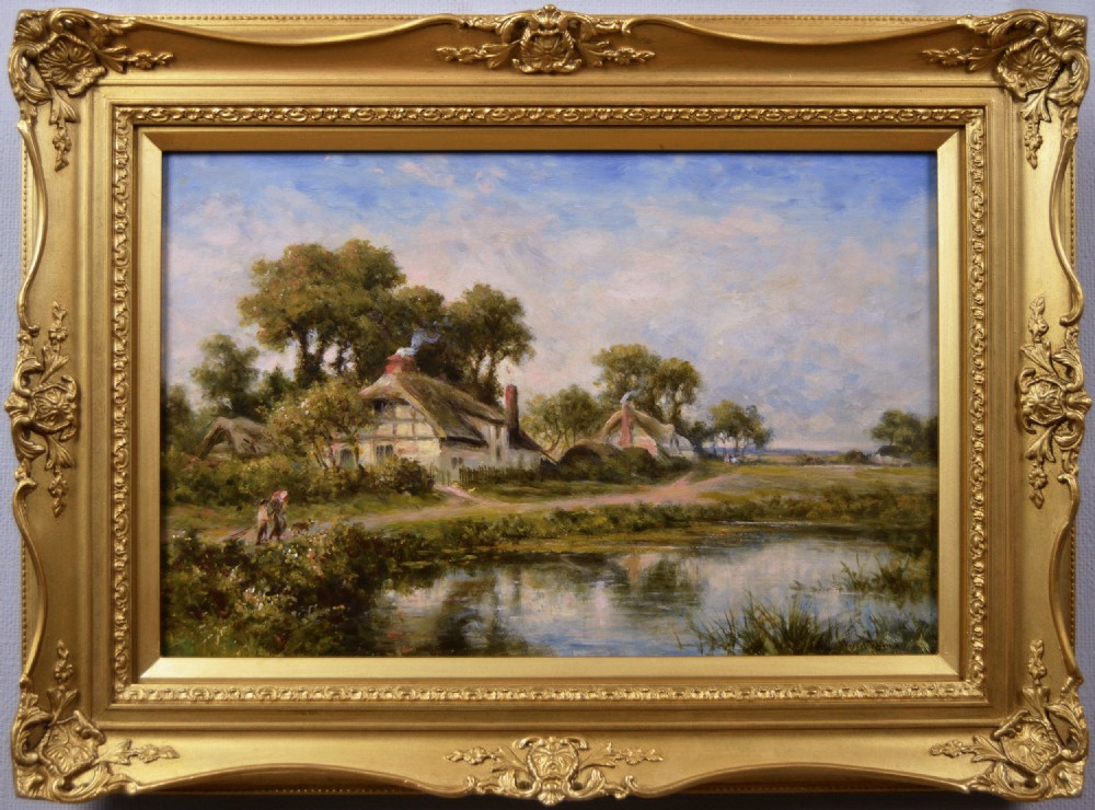 landscape oil painting of figures near cottages and a pond by walter waller caffyn