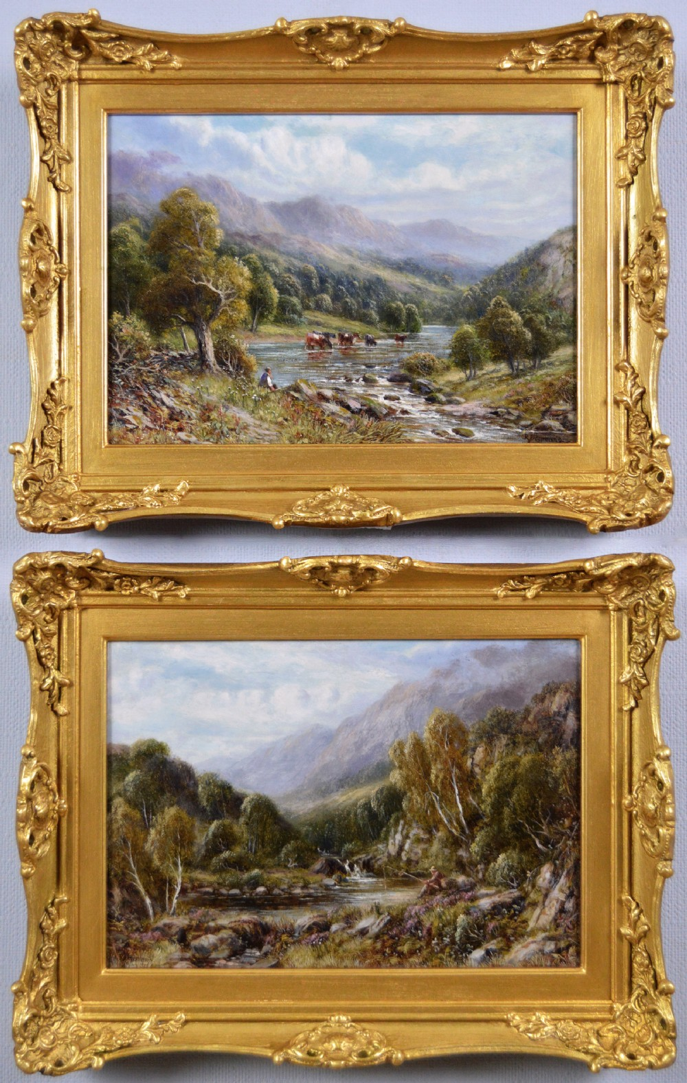 pair of welsh and scottish river landscape oil paintings by robert john hammond