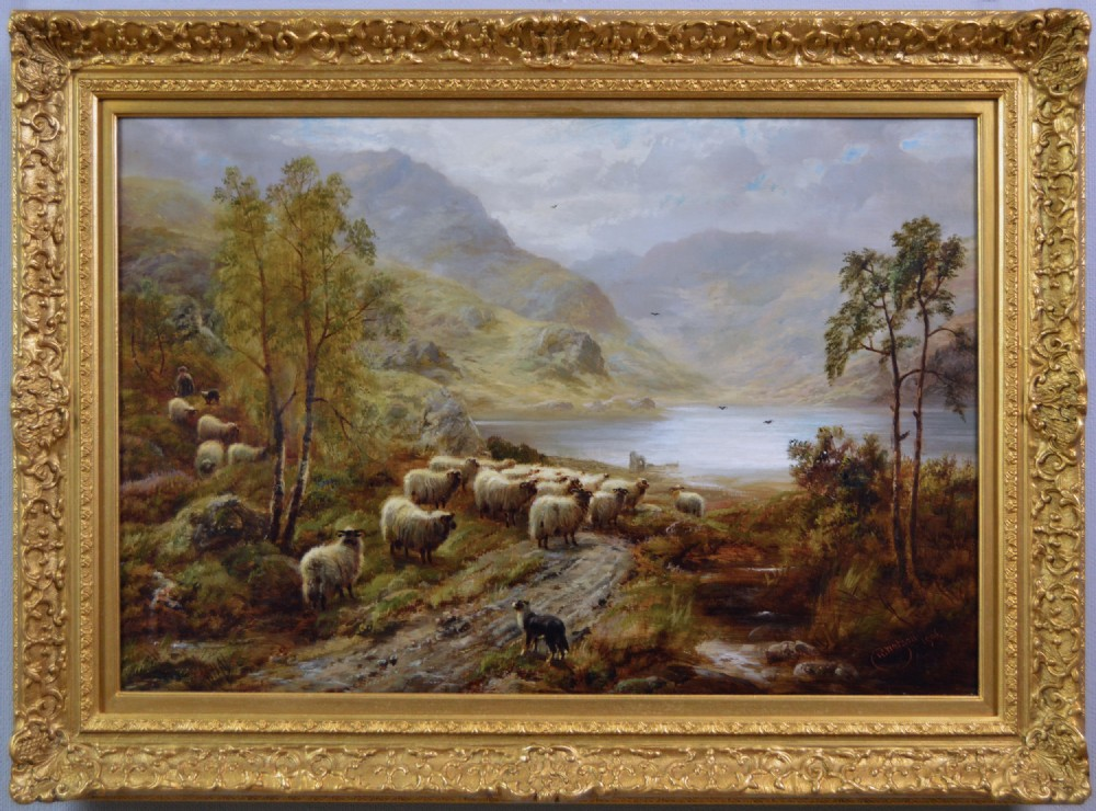 scottish landscape oil painting of sheep near a highland loch by robert watson