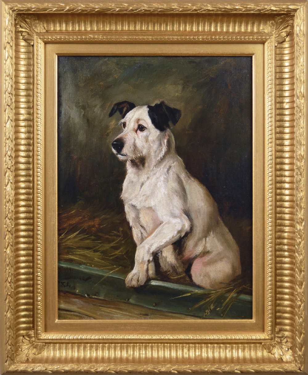 dog portrait oil painting of a terrier by wright barker