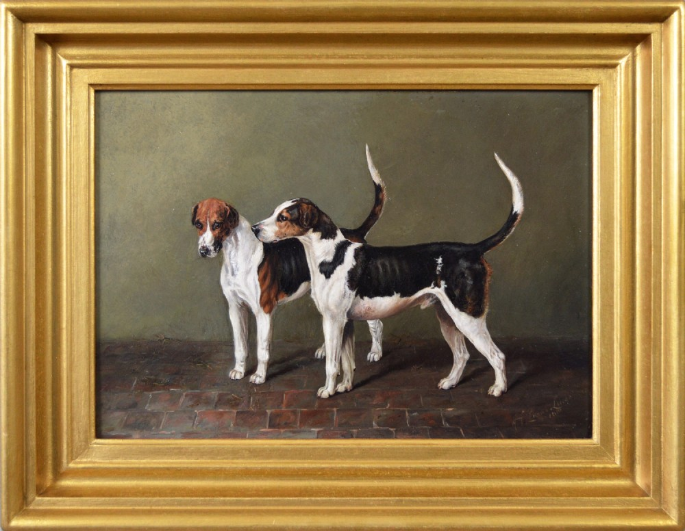 sporting dog portrait oil painting of two foxhounds by henry frederick lucas lucas