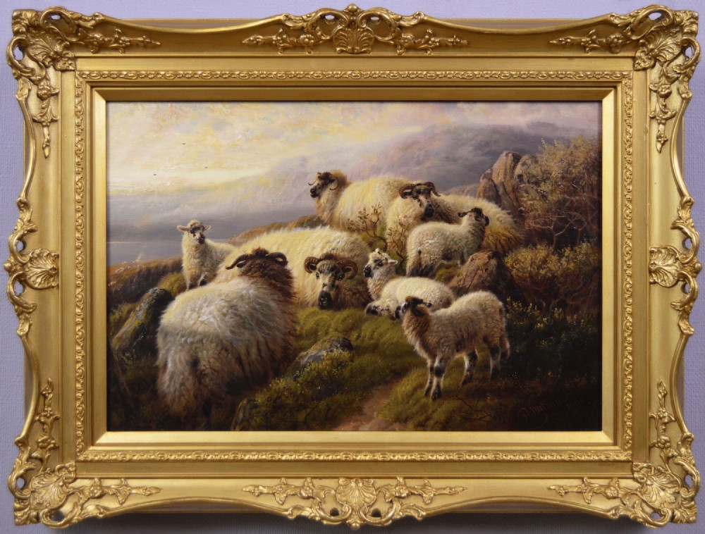 scottish landscape oil painting of sheep resting near a highland loch by robert watson