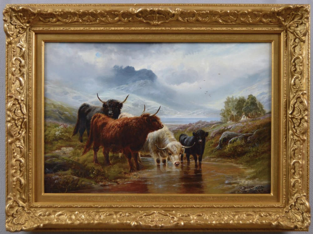 scottish landscape oil painting of highland cattle by robert watson