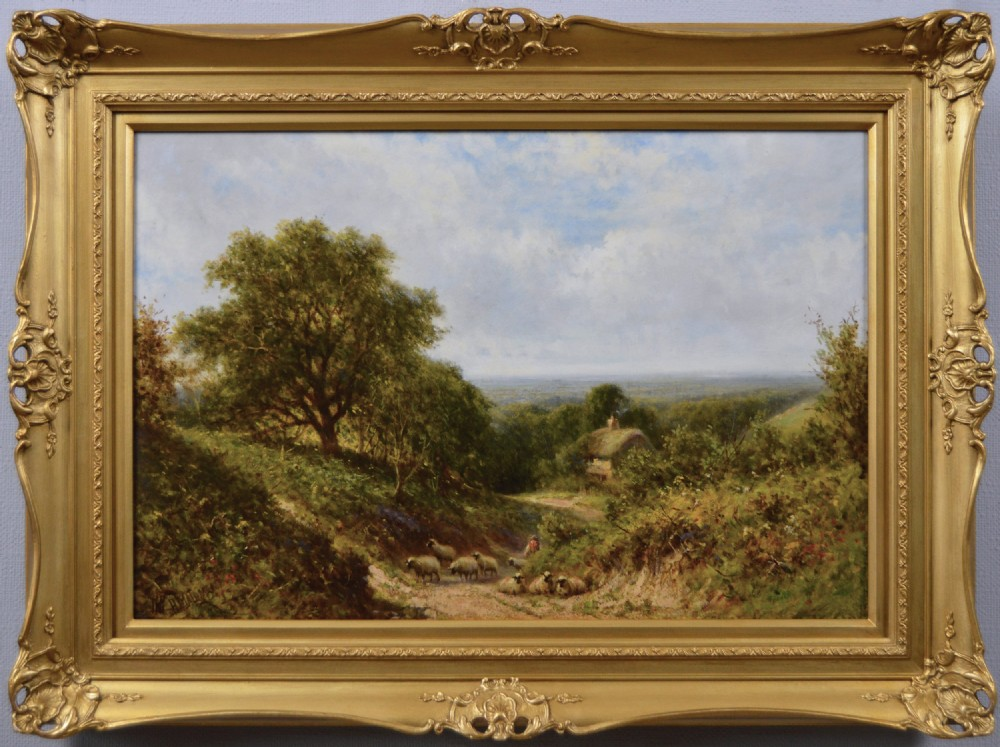 landscape oil painting of sheep by henry harry maidment