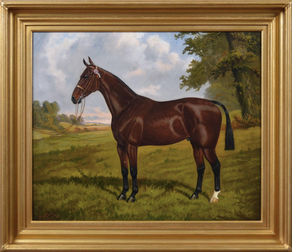 sporting horse portrait oil painting of a champion hunter by william albert clark