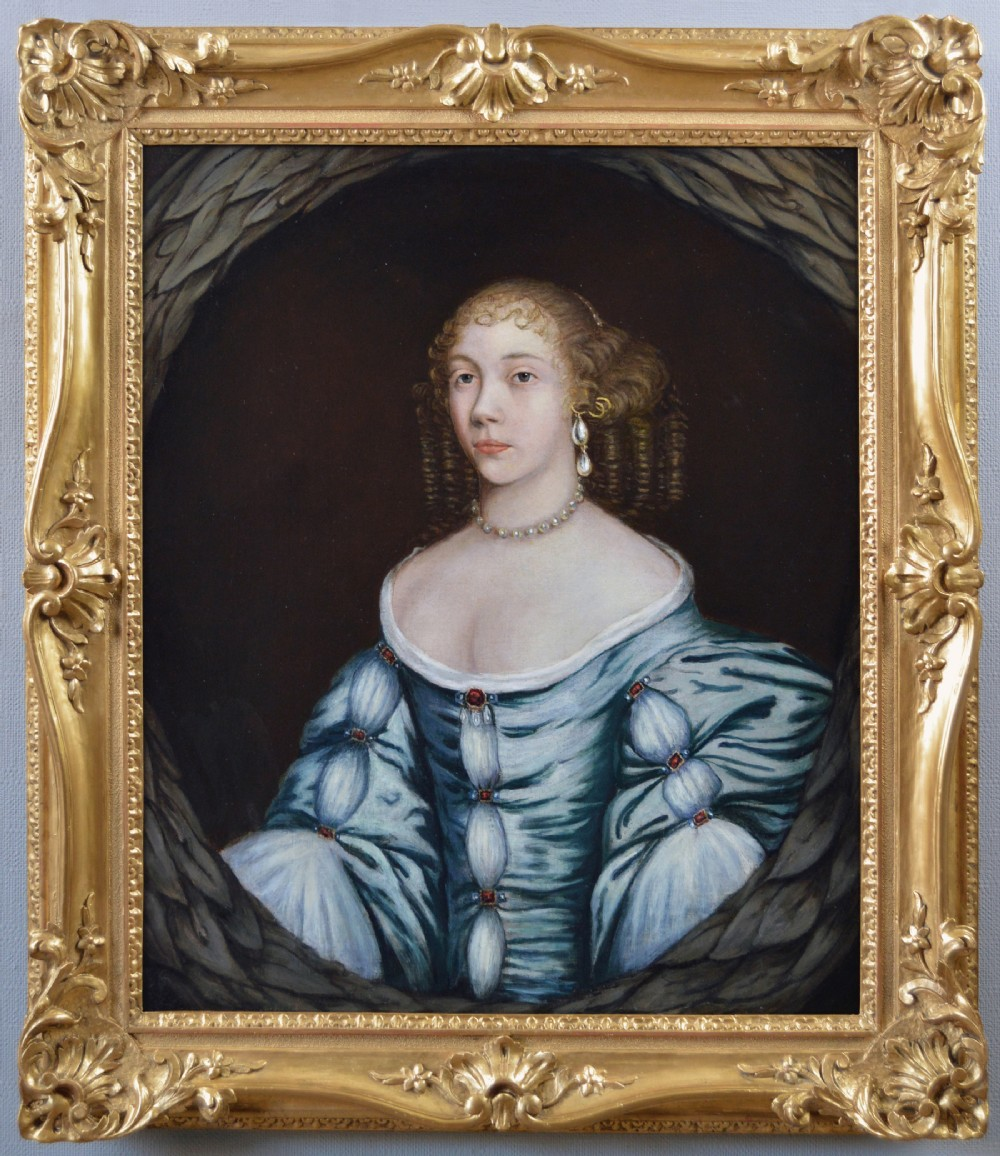 portrait oil painting of a lady 17th century studio of sir peter lely