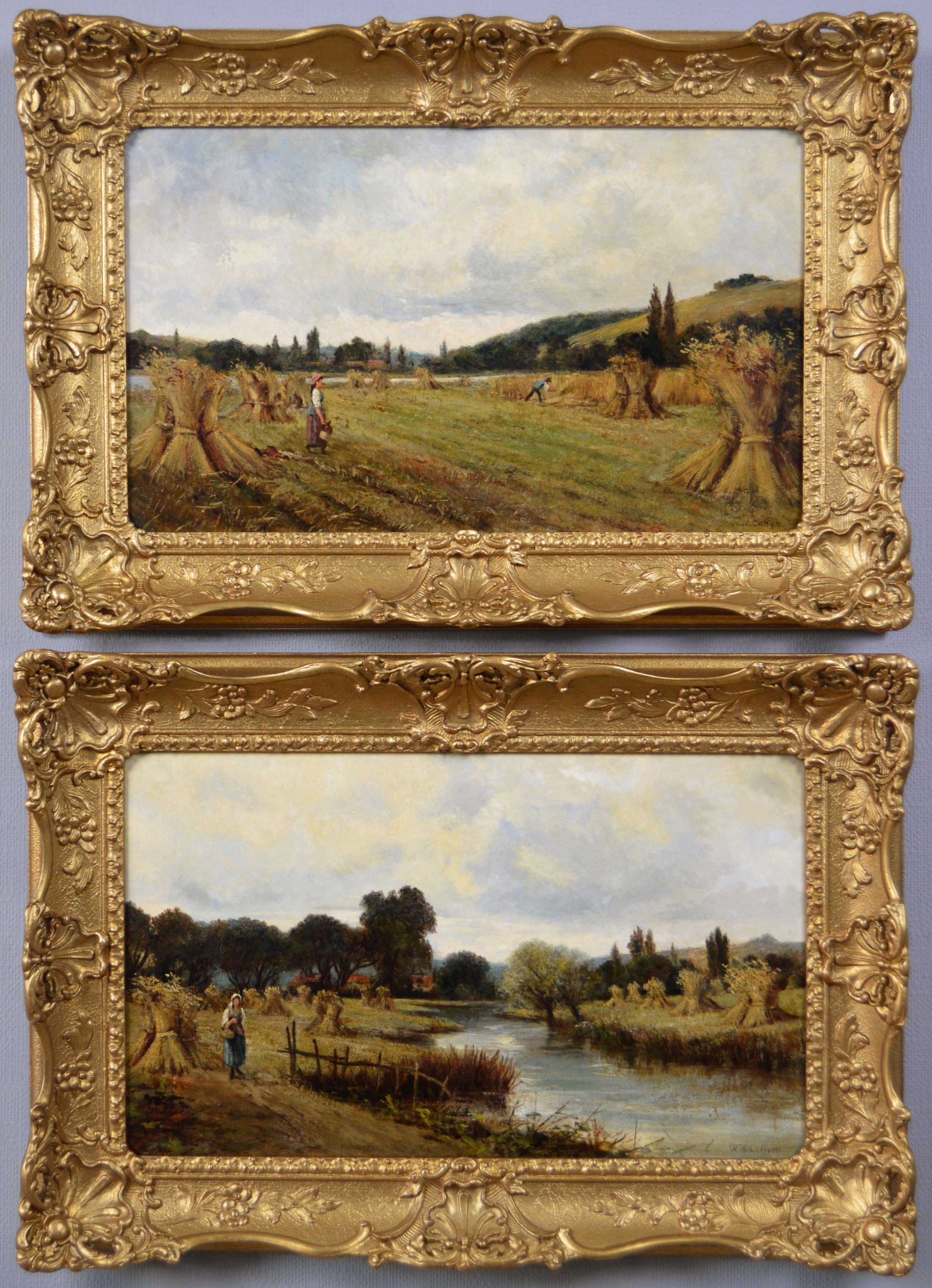 pair of landscape oil paintings of figures in a cornfield by walter waller caffyn