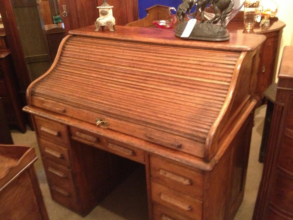 Antique Solid Oak Roll Top Desk Circa 1900 234953