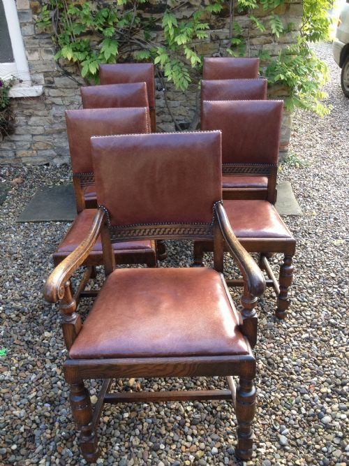 antique oak and leather dining chairs six plus a carver c1920 - Antique Oak And Leather Dining Chairs Six Plus A Carver C.1920