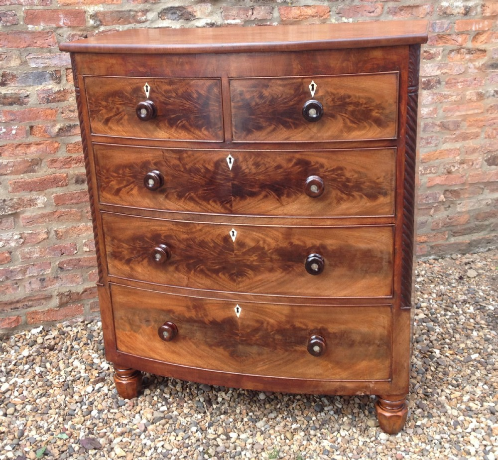 Antique Victorian Flame Mahogany Bow Front Chest Of