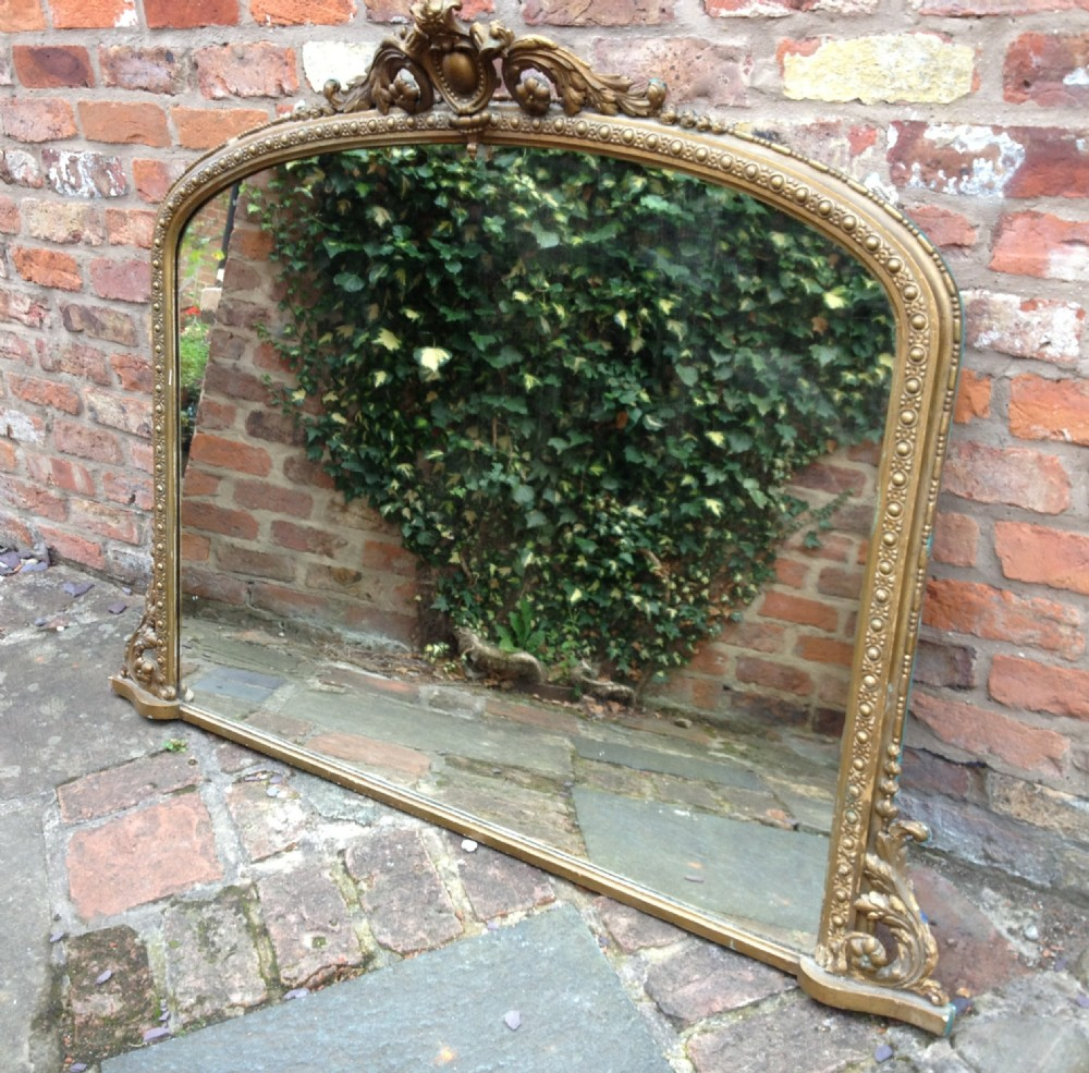 Victorian gilt over mantel mirror with well decorated for Mantle mirror