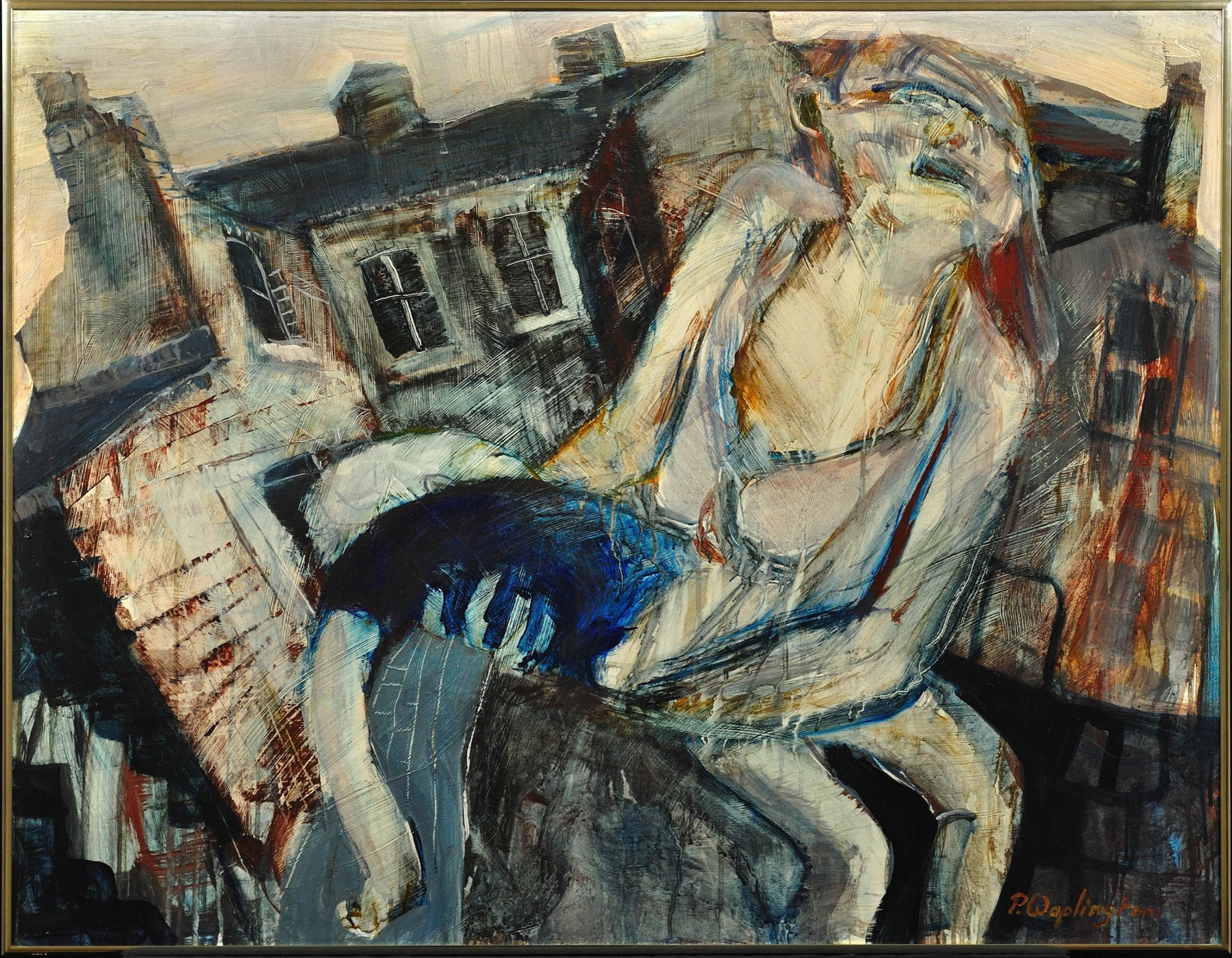 paul anthony waplington b1938 mother with injured child forest fields nottingham 1968 mixed media on board