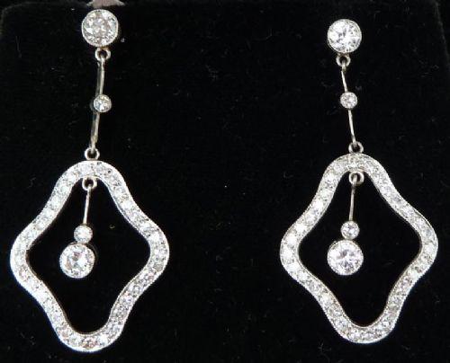 fabulous platinum art deco 210ct diamond dangle earrings