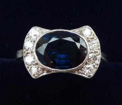 18ct white and platinum gold art deco 220ct sapphire and diamond cluster 18k vintage antique ring