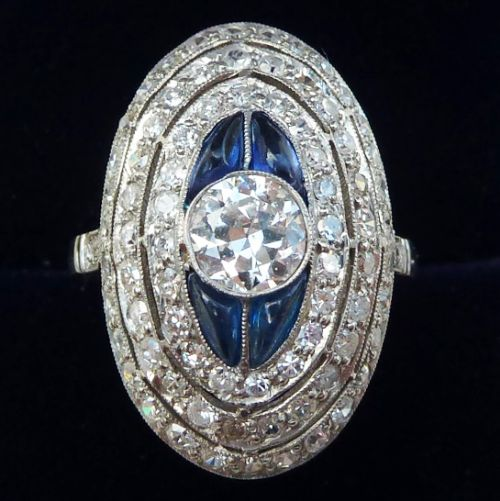 stunning platinum art deco 235ct diamond and sapphire cluster vintage antique boule ring
