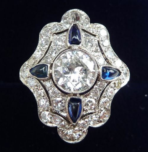 stunning platinum art deco sapphire and 170ct diamond cluster vintage antique ring