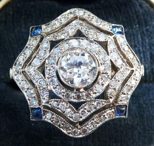 big beautiful art deco platinum 141ct diamond and sapphire star cluster vintage antique ring