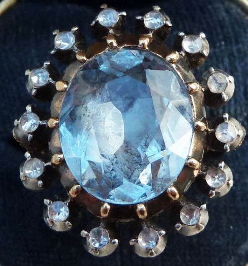 fabulous georgian 675ct oval cut aquamarine and rose diamond cluster 18ct vintage antique ring