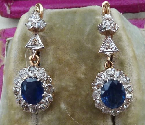 stunning art deco 18ct 18k gold 25ct oval cut sapphire and diamond vintage antique drop earrings