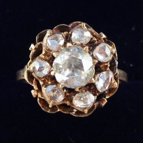 beautiful early victorian 12ct rose gold diamond cluster vintage antique ring not 18ct