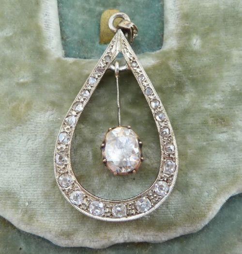fabulous 18ct gold and silver georgian rose cut diamond vintage antique pendant