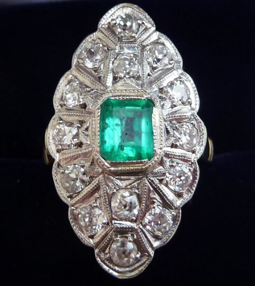 edwardian 18ct 18k and white gold 065ct colombian emerald and diamond marquise vintage antique ring