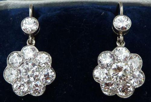 stunning 18ct platinum art deco 430ct diamond diamond daisy vintage antique cluster earrings