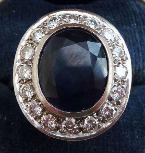 gorgeous platinum art deco 650ct sapphire and 080ct diamond cluster vintage antique ring