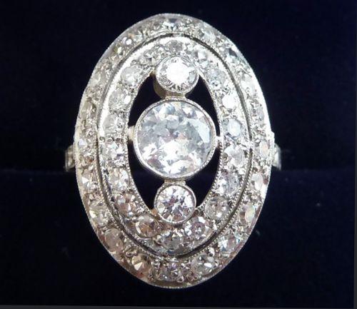 beautiful art deco platinum 151ct diamond vintage antique cluster ring