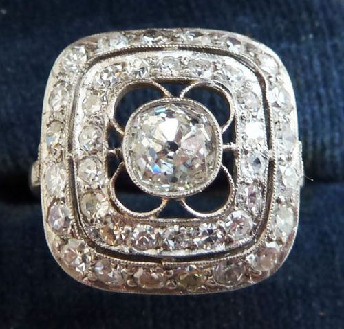 stunning platinum art deco 158ct diamond cluster vintage antique ring