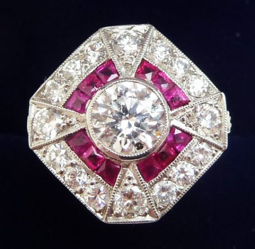 stunning platinum art deco ruby and 162ct diamond cluster vintage antique ring
