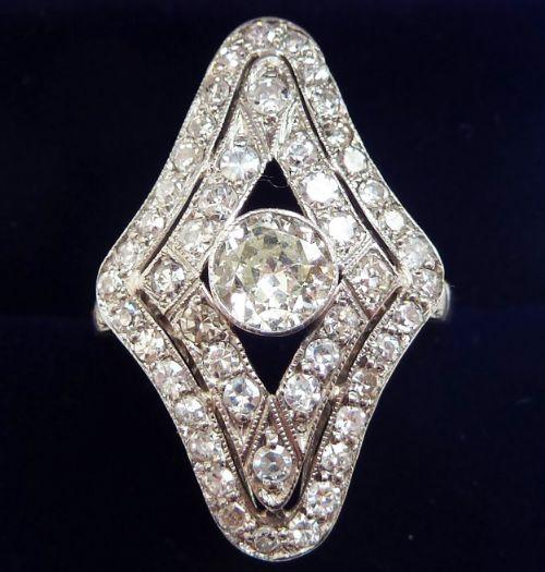 stunning platinum art deco 163ct diamond cluster marquise vintage antique ring