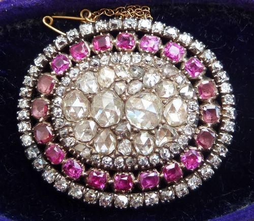 stunning georgian rose diamond and flat cut rubies amethysts 18th century vintage antique brooch