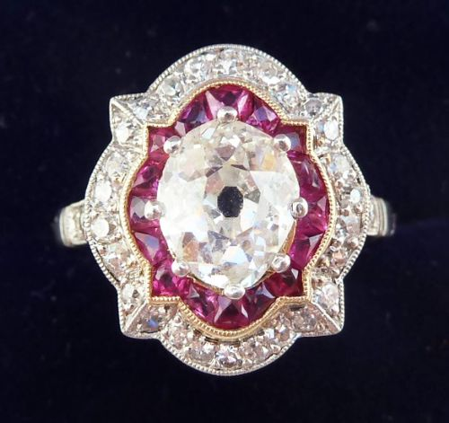 stunning platinum art deco ruby and oval cut diamond 220ct vintage antique cluster ring
