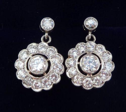 gorgeous art deco platinum 170ct diamond daisy cluster drop earrings
