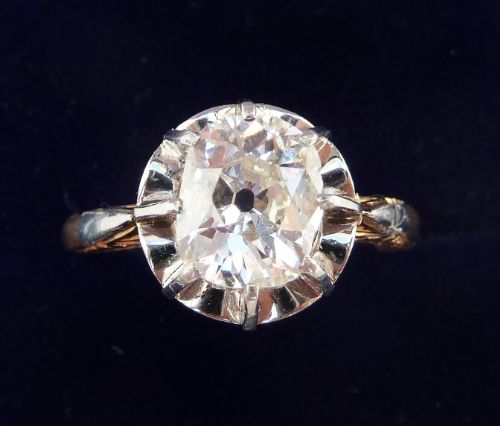 superb art deco 18ct and white gold 160ct cushion cut diamond solitaire vintage antique ring