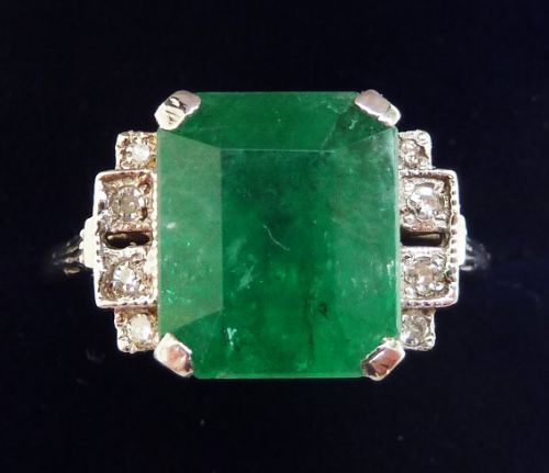 gorgeous art deco 18ct white gold 425ct emerald and diamond vintage antique ring