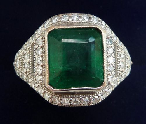 stunning platinum art deco 4ct emerald and diamond cluster vintage antique ring
