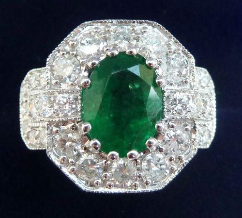 stunning platinum art deco 225ct emerald and 196ct diamond cluster vintage antique ring
