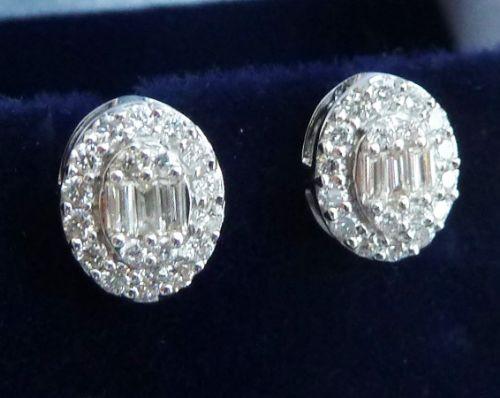 beautiful art deco 18ct 18k white gold baguette and old cut diamond stud vintage antique earrings