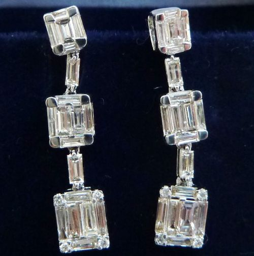 gorgeous art deco 18ct 18k white gold 130ct baguette diamond drop vintage antique earrings
