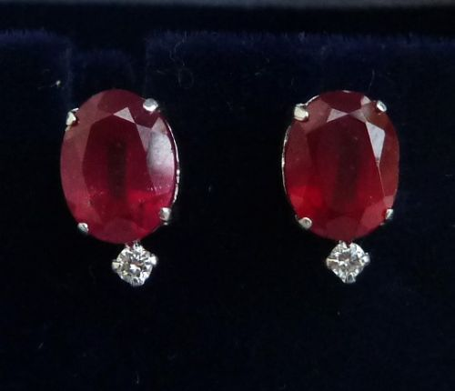 gorgeous art deco 18ct 18k white gold 350ct ruby and diamond vintage antique earrings