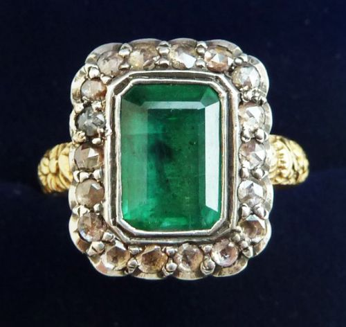 gorgeous georgian 18ct gold and silver 25ct emerald and rose cut diamond vintage antique ring