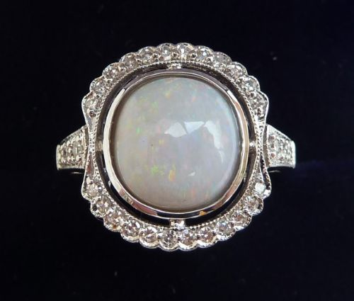 gorgeous art deco 18ct 18k white gold opal and diamond cluster vintage antique ring