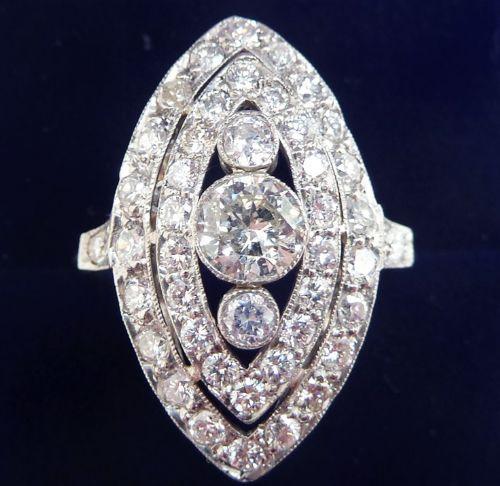 stunning art deco platinum 221ct diamond marquise vintage antique cluster ring