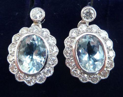 gorgeous art deco 18ct 18k white gold aquamarine and diamond vintage antique cluster drop earrings