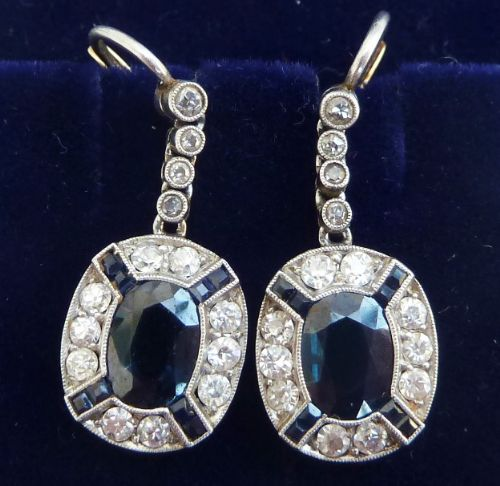 stunning 18ct 18k and platinum art deco 270ct sapphire and diamond vintage antique cluster earrings