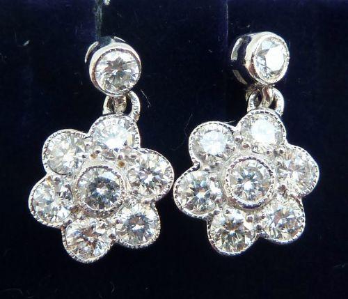 gorgeous art deco 18ct 18k white gold 112ct diamond daisy vintage antique cluster drop earrings